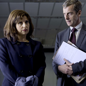 The Thick Of It. Image shows from L to R: Nicola Murray (Rebecca Front), Malcolm Tucker (Peter Capaldi). Image credit: British Broadcasting Corporation.
