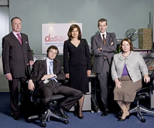 The Thick Of It. Image shows from L to R: Glenn Cullen (James Smith), Oliver Reeder (Chris Addison), Nicola Murray (Rebecca Front), Malcolm Tucker (Peter Capaldi), Terri Coverley (Joanna Scanlan). Image credit: British Broadcasting Corporation.
