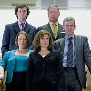 The Thick Of It. Image shows from L to R: Oliver Reeder (Chris Addison), Terri Coverley (Joanna Scanlan), Nicola Murray (Rebecca Front), Glenn Cullen (James Smith), Malcolm Tucker (Peter Capaldi). Image credit: British Broadcasting Corporation.