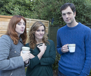 Trying Again. Image shows from L to R: Gail (Elizabeth Berrington), Meg (Jo Joyner), Matt (Chris Addison). Copyright: Avalon Television.