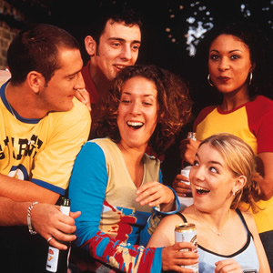 Two Pints Of Lager And A Packet Of Crisps. Image shows from L to R: Gaz (Will Mellor), Jonny (Ralf Little), Donna (Natalie Casey), Janet (Sheridan Smith), Louise (Kathryn Drysdale). Copyright: BBC.
