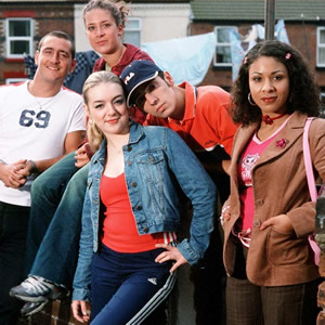 Two Pints Of Lager And A Packet Of Crisps. Image shows from L to R: Gaz (Will Mellor), Janet (Sheridan Smith), Donna (Natalie Casey), Jonny (Ralf Little), Louise (Kathryn Drysdale). Copyright: BBC.