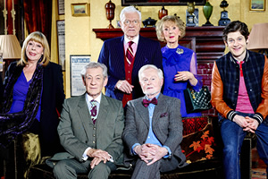 Vicious. Image shows from L to R: Violet (Frances de la Tour), Freddie (Ian McKellen), Mason (Philip Voss), Stuart (Derek Jacobi), Penelope (Marcia Warren), Ash (Iwan Rheon). Copyright: Brown Eyed Boy / Kudos Productions.
