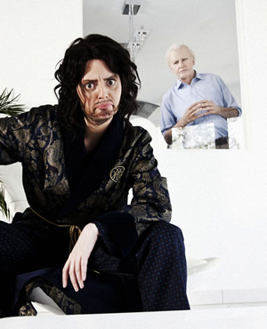Russell Brand and David Attenborough. Image shows from L to R: Morgana Robinson, Terry Mynott. Copyright: Running Bare Pictures.
