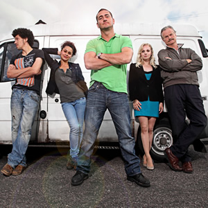 White Van Man. Image shows from L to R: Darren (Joel Fry), Liz (Naomi Bentley), Ollie (Will Mellor), Emma (Georgia Moffett), Tony (Clive Mantle). Copyright: ITV Studios.