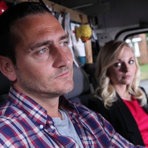 White Van Man. Image shows from L to R: Ollie (Will Mellor), Emma (Georgia Tennant). Copyright: ITV Studios.