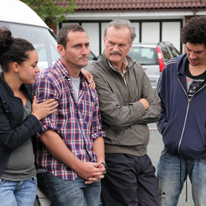 White Van Man. Image shows from L to R: Liz (Naomi Bentley), Ollie (Will Mellor), Tony (Clive Mantle), Darren (Joel Fry). Image credit: ITV Studios.