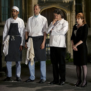 Whites. Image shows from L to R: Axel (Amit Shah), Bib Spears (Darren Boyd), Roland White (Alan Davies), Caroline (Katherine Parkinson). Image credit: British Broadcasting Corporation.