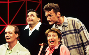 Whose Line Is It Anyway?. Image shows from L to R: Colin Mochrie, Tony Slattery, Caroline Quentin, Ryan Stiles. Image credit: Hat Trick Productions.