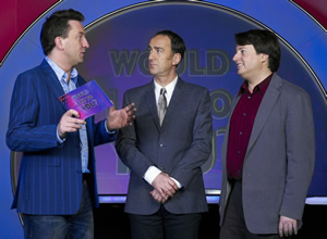 Would I Lie To You?. Image shows from L to R: Lee Mack, Angus Deayton, David Mitchell. Image credit: Zeppotron.