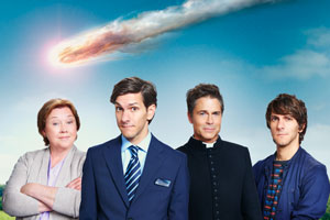 You, Me And The Apocalypse. Image shows from L to R: Paula (Pauline Quirke), Jamie (Mathew Baynton), Father Jude (Rob Lowe), Ariel (Mathew Baynton). Copyright: Working Title Films / Bigballs Films.