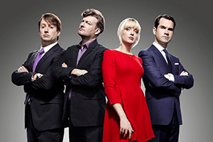 10 O'Clock Live. Image shows from L to R: David Mitchell, Charlie Brooker, Lauren Laverne, Jimmy Carr. Copyright: Zeppotron.