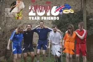 2016: Year Friends. Image shows from L to R: Ellie (Ellie White), Jamie (Jamie Demetriou), Al (Al Roberts), Liam (Liam Williams), Tash (Natasia Demetriou), Jonno (Daran Johnson).
