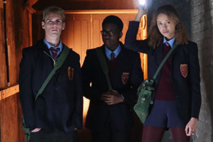 2:Hrs. Image shows from L to R: Tim Edge (Harry Jarvis), Alf (Alhaji Fofana), Victoria (Ella-Rae Smith).
