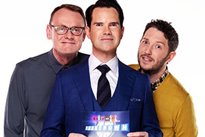 8 Out Of 10 Cats Does Countdown. Image shows from L to R: Sean Lock, Jimmy Carr, Jon Richardson. Copyright: Zeppotron.