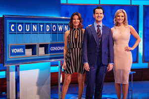 8 Out Of 10 Cats Does Countdown. Image shows from L to R: Susie Dent, Jimmy Carr, Rachel Riley.
