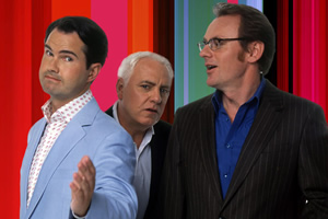 8 Out Of 10 Cats. Image shows from L to R: Jimmy Carr, Dave Spikey, Sean Lock. Copyright: Zeppotron.