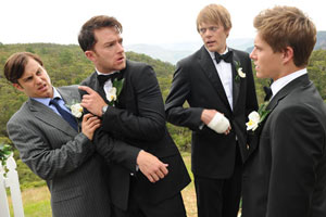 A Few Best Men. Image shows from L to R: Graham (Kevin Bishop), Luke (Tim Draxl), Tom (Kris Marshall), David (Xavier Samuel).