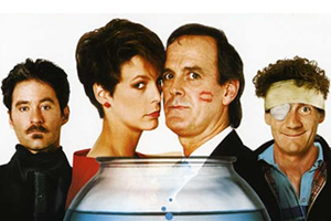 A Fish Called Wanda. Image shows from L to R: Otto West (Kevin Kline), Wanda Gershwitz (Jamie Lee Curtis), Archie Leach (John Cleese), Ken Pile (Michael Palin).