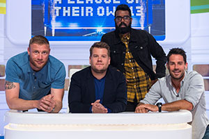 A League Of Their Own. Image shows from L to R: Andrew Flintoff, James Corden, Romesh Ranganathan, Jamie Redknapp. Copyright: CPL Productions.