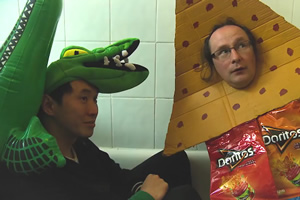 A Load Of Croc. Image shows from L to R: Croc (William Lee), Dorito Fish (Michael Brunström). Copyright: Turtle Canyon Comedy.