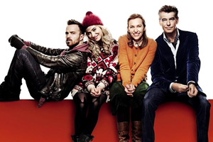A Long Way Down. Image shows from L to R: J.J. (Aaron Paul), Jess Crichton (Imogen Poots), Maureen (Toni Collette), Martin Sharp (Pierce Brosnan).