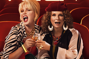 Absolutely Fabulous: The Movie. Image shows from L to R: Patsy (Joanna Lumley), Edina (Jennifer Saunders). Copyright: BBC Films.