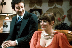 Abigail's Party. Image shows from L to R: Laurence (Tim Stern), Beverly (Alison Steadman). Copyright: BBC.