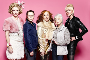 Absolutely Fabulous. Image shows from L to R: Bubble (Jane Horrocks), Saffron (Julia Sawalha), Edina (Jennifer Saunders), Mother (June Whitfield), Patsy (Joanna Lumley). Copyright: Saunders And French Productions / BBC.