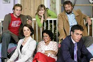 According To Bex. Image shows from L to R: Ryan (Oliver Chris), Chris (Raquel Cassidy), Bex (Jessica Hynes), Jan (Zita Sattar), Jack Atwell (Clive Russell), Charles Mathers (Greg Wise).