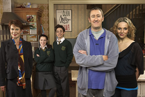 After You've Gone. Image shows from L to R: Diana Neal (Celia Imrie), Molly Venables (Dani Harmer), Alex Venables (Ryan Sampson), Jimmy Venables (Nicholas Lyndhurst), Siobhan Casey (Amanda Abbington).
