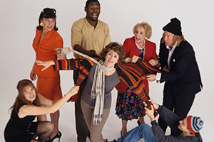 Agony Again. Image shows from L to R: Catherine (Valerie Edmond), Debra (Doon Mackichan), Daniel (David Harewood), Jane (Maureen Lipman), Bea (Maria Charles), Richard (Niall Buggy), Michael (Sacha Grunpeter). Copyright: Humphrey Barclay Productions.