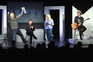 AIOTM. Image shows from L to R: Richard Herring, Dan Tetsell, Emma Kennedy, Christian Reilly.