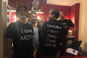 AIOTM. Image shows from L to R: Christian Reilly, Richard Herring, Emma Kennedy, Dan Tetsell, Ben Walker.