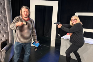As It Occurs To Me. Image shows from L to R: Richard Herring, Emma Kennedy.