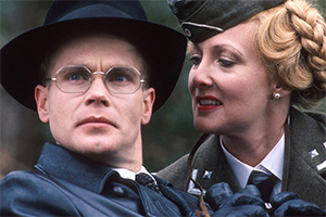 'Allo 'Allo!. Image shows from L to R: Herr Otto Flick (Richard Gibson), Private Helga Geerhart (Kim Hartman). Copyright: BBC.