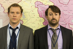 Ambassadors. Image shows from L to R: Neil Tilly (Robert Webb), Keith Davis (David Mitchell).