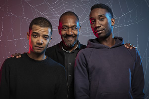 Anansi Boys. Image shows from L to R: Charlie (Jacob Anderson), Mr Nancy (Lenny Henry), Spider (Nathan Stewart-Jarrett). Copyright: BBC.