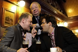 Argumental. Image shows from L to R: Rufus Hound, John Sergeant, Marcus Brigstocke. Copyright: Tiger Aspect Productions.