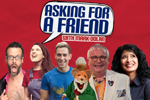 Asking For A Friend. Image shows from L to R: Marcus Brigstocke, Rosie Jones, Simon Brodkin, Christopher Biggins, Shappi Khorsandi.