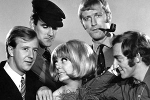 At Last The 1948 Show. Image shows from L to R: Tim Brooke-Taylor, John Cleese, Aimi MacDonald, Graham Chapman, Marty Feldman. Copyright: Rediffusion London.