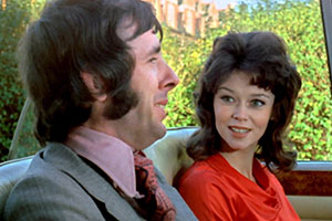 Au Pair Girls. Image shows from L to R: Stephen Wainwright (Richard O'Sullivan), Randi Lindstrom (Gabrielle Drake).