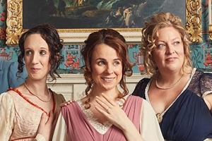 Austentatious. Image shows from L to R: Charlotte Gittins, Cariad Lloyd, Amy Cooke-Hodgson, Austentatious.