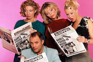 Babes In The Wood. Image shows from L to R: Caralyn (Natalie Walter), Charlie (Karl Howman), Ruth (Samantha Janus), Leigh (Denise Van Outen). Copyright: ITV.