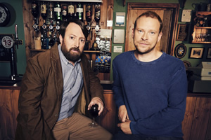 Back. Image shows from L to R: Stephen (David Mitchell), Andrew (Robert Webb).