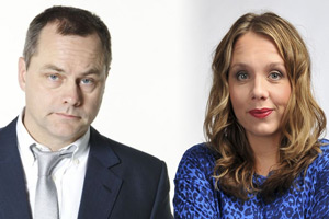 Bad Move. Image shows from L to R: Steve (Jack Dee), Nicky (Kerry Godliman). Copyright: Open Mike Productions.