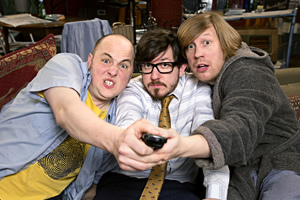 Badults. Image shows from L to R: Tom (Tom Parry), Matthew (Matthew Crosby), Ben (Ben Clark). Copyright: The Comedy Unit.