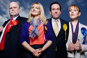 Ballot Monkeys. Image shows from L to R: Jack Pardew (Trevor Cooper), Kate Standen (Sarah Hadland), Kevin Sturridge (Ben Miller), Siobhan Hope (Hattie Morahan). Copyright: Hat Trick Productions.