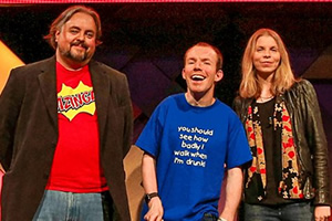 BBC Ouch Storytelling Live - Going Out. Image shows from L to R: Philip Henry, Lee Ridley, Lucy Jollow. Copyright: BBC.