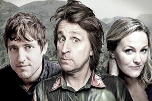 Be Lucky. Image shows from L to R: Dylan (Elis James), Gabriel (Milton Jones), Ruth (Jo Joyner). Copyright: The Rubber Chicken.